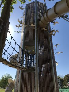 A massive slide, with bird sculptures attached, in the Destination Playground, Anderson Park, Napier