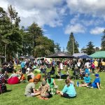 People relaxing and enjoying the vibe at the Hawke's Bay Farmers' Market